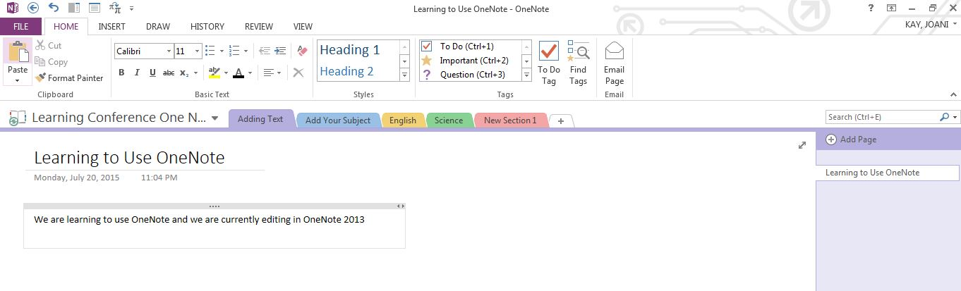 Edit in OneNote 2013