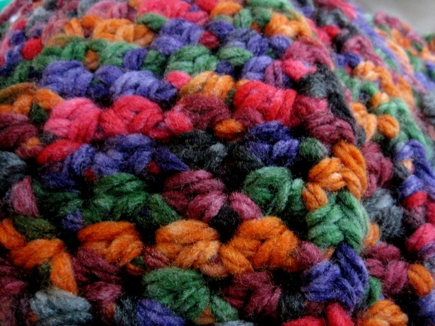 Colorful close-up picture of crocheted cap