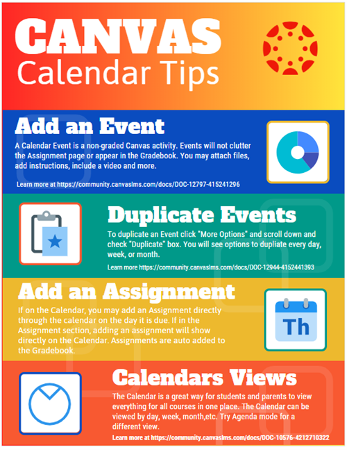 Canvas Calendar Tips