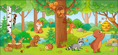 Woodland Scene with forest animals