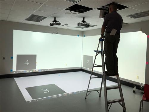 Immersive room calibration photo, 2 walls and floor projection