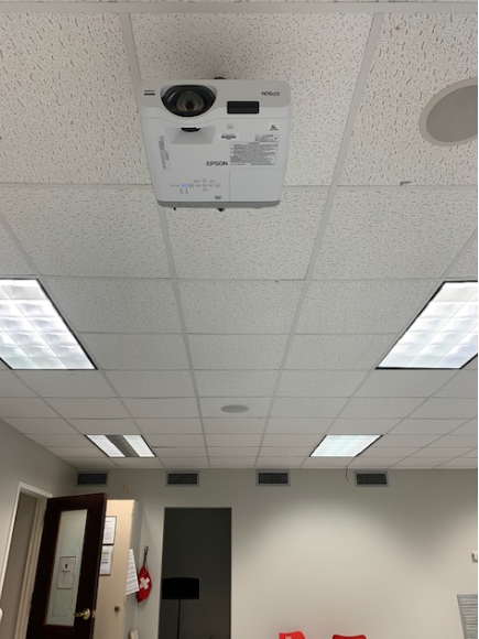 Opposite side view of wall projector