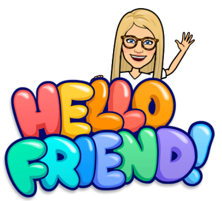 "Teacher Bitmoji with text ""Hello Friend!"""