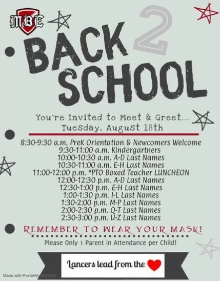 Back to School: You're invited to meet & greet... Tuesday, August 18th, listed various times, Remember to wear your mask!