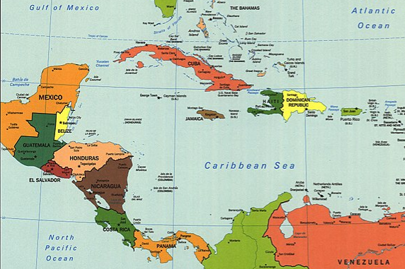Map of Central America and The Caribbean