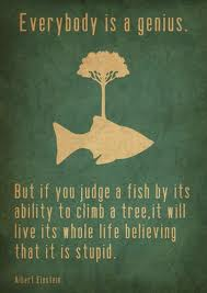 Everybody is a genius. But if you judge a fish by its ability to climb a tree, it will live its whole life believing its stupid.