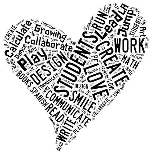 student word cloud heart